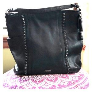 Coach black stud pebbled leather handbag